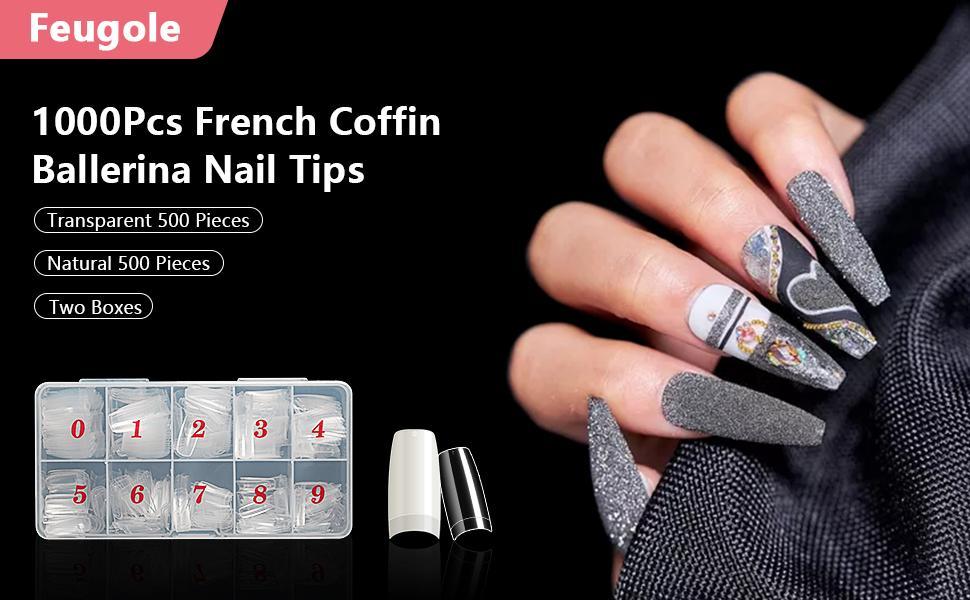 Feugole French Nail Tips Acrylic Flake Nails