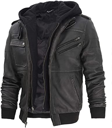 Hooded Leather Jacket By Decrum
