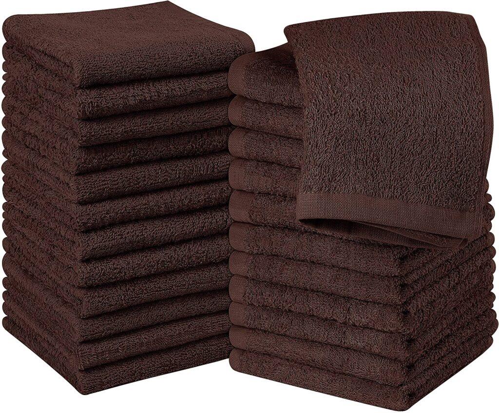Utopia Cotton Brown Washcloths