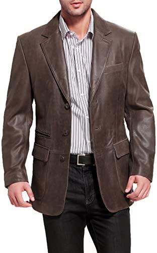 BGSD Men's Mark 3-Button Leather Blazer